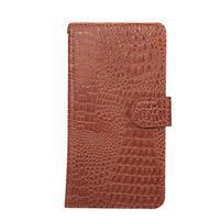 Croco PU kožené univerzálne puzdro na mobily do rozmeru 15,7 x 8 x1,8 cm - hnedé