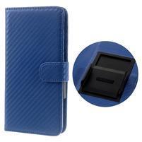 Carbon univerzálne výsuvné puzdro na telefóny v šírke 53-80 mm - modré