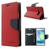 Diary PU kožené puzdro na Samsung Galaxy A3 - červené