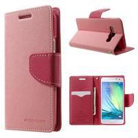 Diary PU kožené puzdro pre Samsung Galaxy A3    - ružové