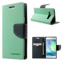Diary PU kožené puzdro pre Samsung Galaxy A3    - cyan