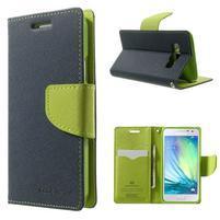 Diary PU kožené puzdro pre Samsung Galaxy A3    - tmavomodré