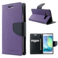 Diary PU kožené puzdro na Samsung Galaxy A3 - fialové