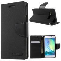 Luxury textilné / koženkové puzdro pre Samsung Galaxy A3 - čierne