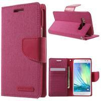 Luxury textilné / koženkové puzdro pre Samsung Galaxy A3    - rose