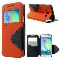 Roar peňaženkové puzdro s okienkom na Samsung Galaxy A3 - oranžové
