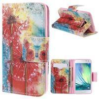 Peňaženkové púzdro pre Samsung Galaxy A3    - malované púpavy