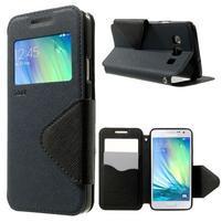 Roar peňaženkové puzdro s okienkom na Samsung Galaxy A3 - tmavomodré