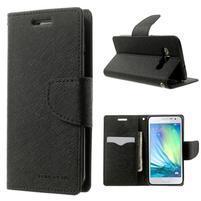 Diary PU kožené puzdro na Samsung Galaxy A3 - čierne