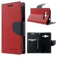 Fancy PU kožené puzdro pre Samsung Galaxy Core Prime - červené