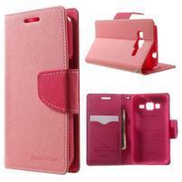 Fancy PU kožené puzdro pre Samsung Galaxy Core Prime - ružové