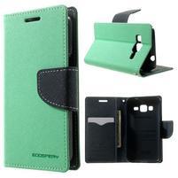 Fancy PU kožené puzdro pre Samsung Galaxy Core Prime - azúrové