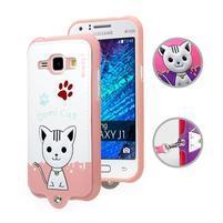 Kočička Domi obal na mobil Samsung Galaxy Core Prime - bílý