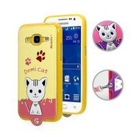 Kočička Domi obal na mobil Samsung Galaxy Core Prime - žlutý