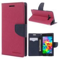 Diary PU kožené puzdro pre mobil Samsung Galaxy Grand Prime - rose