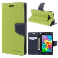 Diary PU kožené puzdro pre mobil Samsung Galaxy Grand Prime - zelené