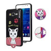 Mačička Domi s PU koženými chrbtom na Samsung Galaxy Grand Prime - čierny