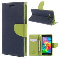 Diary PU kožené puzdro pre mobil Samsung Galaxy Grand Prime - tmavomodré