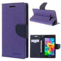 Diary PU kožené puzdro pre mobil Samsung Galaxy Grand Prime - fialové