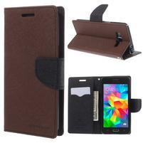 Diary PU kožené puzdro pre mobil Samsung Galaxy Grand Prime - hnedé