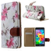 Kvetinové koženkové puzdro na Samsung Galaxy Grand Prime - biele pozadie