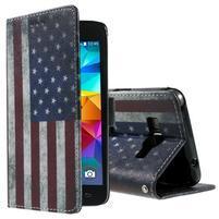 Wallet PU kožené puzdro pre mobil Samsung Galaxy Grand Prime - US vlajka
