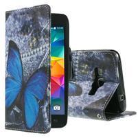 Wallet PU kožené puzdro na mobil Samsung Galaxy Grand Prime - modrý motýľ