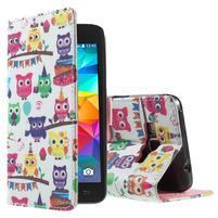 Wallet PU kožené puzdro pre mobil Samsung Galaxy Grand Prime - sovičky