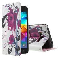 Wallet PU kožené puzdro na mobil Samsung Galaxy Grand Prime - květy