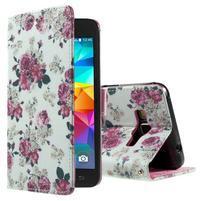 Wallet PU kožené puzdro pre mobil Samsung Galaxy Grand Prime - kvietky