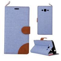 Jeans koženkové / textilné puzdro pre Samsung Galaxy Grand Prime - svetlomodré