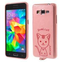 Mačička Domi kryt s PU koženými chrbtom pre Samsung Galaxy Grand Prime - ružový
