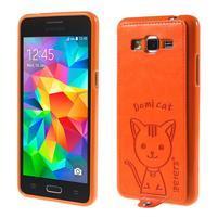 Mačička Domi kryt s PU koženými chrbtom pre Samsung Galaxy Grand Prime - oranžový