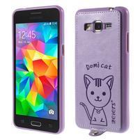 Mačička Domi kryt s PU koženým chrbtom pre Samsung Galaxy Grand Prime - fialový