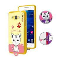 Mačička Domi s PU koženým chrbtom pre Samsung Galaxy Grand Prime - žltá