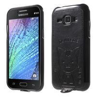 Obal s koženkovým chrbtom a mačičkou Domi pre Samsung Galaxy J1 -  čierne