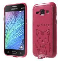 Obal s koženkovým chrbtom a mačičkou Domi pre Samsung Galaxy J1 -  magneta