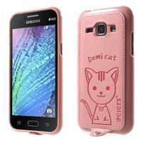 Obal s koženkovým chrbtom a mačičkou Domi pre Samsung Galaxy J1 -  ružová