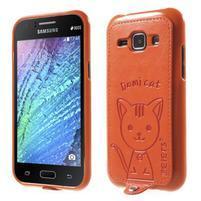 Obal s koženkovým chrbtom a mačičkou Domi pre Samsung Galaxy J1 -  oranžový