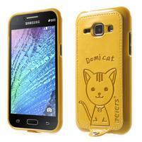 Obal s koženkovým chrbtom a mačičkou Domi pre Samsung Galaxy J1 -  žltý