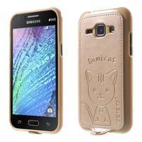 Obal s koženkovým chrbtom a mačičkou Domi pre Samsung Galaxy J1 -  zlatý