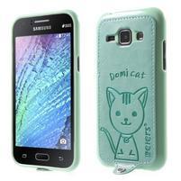 Obal s koženkovým chrbtom a mačičkou Domi pre Samsung Galaxy J1 -  azúrové