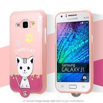 Domi gélové puzdro s mačičkou na Samsung Galaxy J1 - ružové
