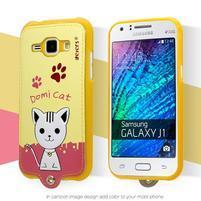 Domi gélové puzdro s mačičkou pre Samsung Galaxy J1 - žlté
