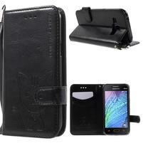 Koženkové puzdro s mačičkou Domi pre Samsung Galaxy J1 - čierne
