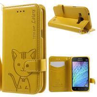 Koženkové puzdro s mačičkou Domi pre Samsung Galaxy J1 - žlté