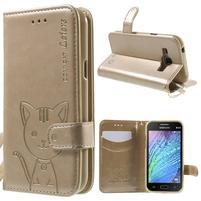 Koženkové puzdro s mačičkou Domi pre Samsung Galaxy J1 - zlaté