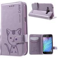 Koženkové puzdro s mačičkou Domi na Samsung Galaxy J1 - fialové
