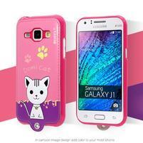 Domi gélové puzdro s mačičkou pre Samsung Galaxy J1 - rose