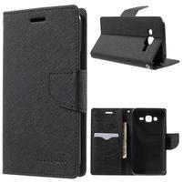 Diary štýlové peňaženkové puzdro pre Samsung Galaxy J5 - čierne